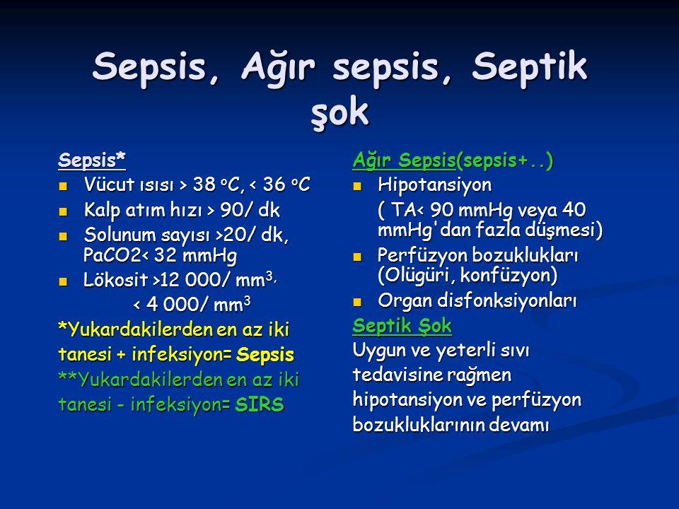 Sepsis, Ağır sepsis, Septik şok Sepsis* Vücut ısısı > 38 o C, 38 o C, < 36 o C Kalp atım hızı > 90/ dk Kalp atım hızı > 90/ dk Solunum sayısı >20/ dk,