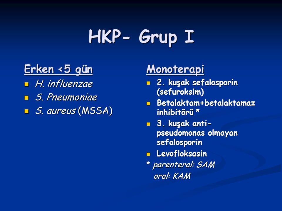 HKP- Grup I Erken <5 gün H. influenzae H. influenzae S. Pneumoniae S. Pneumoniae S. aureus (MSSA) S. aureus (MSSA)Monoterapi 2. kuşak sefalosporin (se
