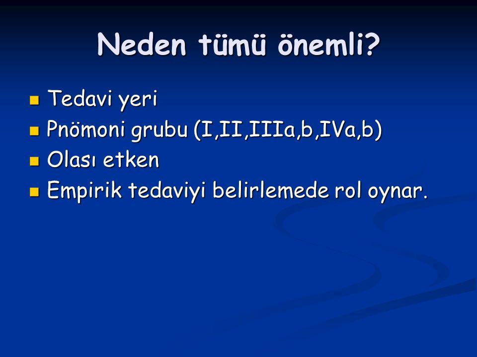 Neden tümü önemli? Tedavi yeri Tedavi yeri Pnömoni grubu (I,II,IIIa,b,IVa,b) Pnömoni grubu (I,II,IIIa,b,IVa,b) Olası etken Olası etken Empirik tedaviy