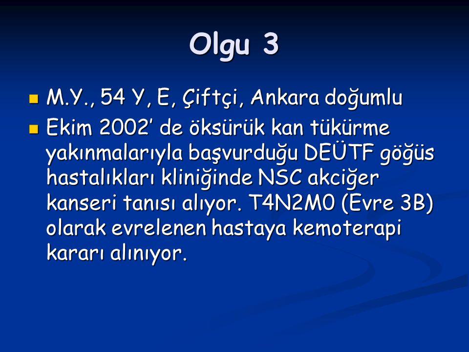 Olgu 3 M.Y., 54 Y, E, Çiftçi, Ankara doğumlu M.Y., 54 Y, E, Çiftçi, Ankara doğumlu Ekim 2002' de öksürük kan tükürme yakınmalarıyla başvurduğu DEÜTF g