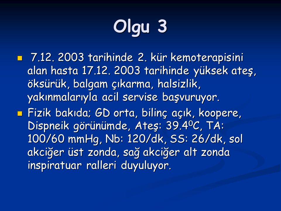 Olgu 3 7.12. 2003 tarihinde 2. kür kemoterapisini alan hasta 17.12. 2003 tarihinde yüksek ateş, öksürük, balgam çıkarma, halsizlik, yakınmalarıyla aci