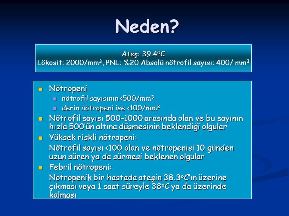 Neden? Ateş: 39.4 0 C Lökosit: 2000/mm 3, PNL: %20 Absolü nötrofil sayısı: 400/ mm 3 Nötropeni Nötropeni nötrofil sayısının <500/mm 3 nötrofil sayısın