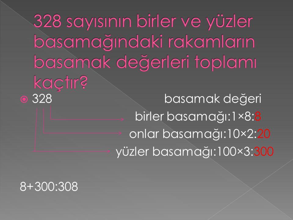 3328basamak değeri birler basamağı:1×8:8 onlar basamağı:10×2:20 yüzler basamağı:100×3:300 8+300:308