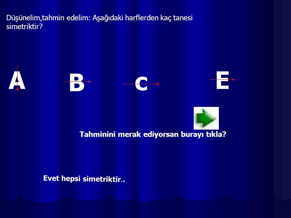 A B E Düşünelim,tahmin edelim: Aşağıdaki harflerden kaç tanesi simetriktir? Tahminini merak ediyorsan burayı tıkla? Evet hepsi simetriktir.. c