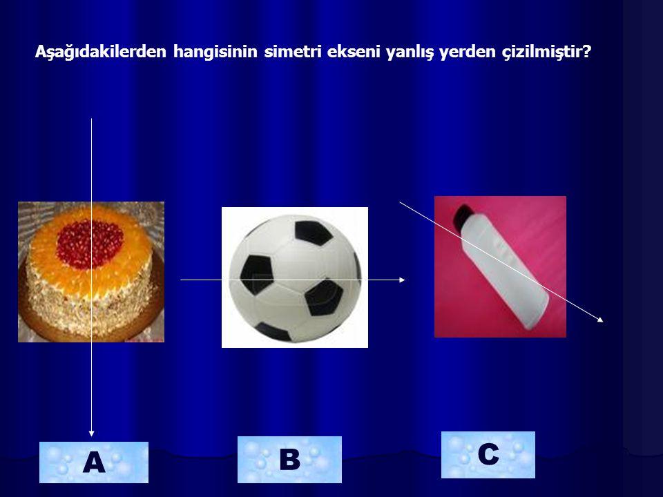 Aşağıdakilerden hangisinin simetri ekseni yanlış yerden çizilmiştir? A B C