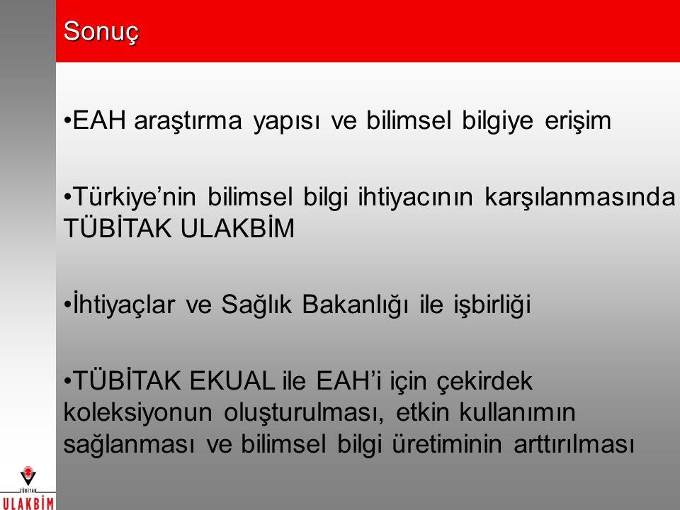Sonuç EAH araştırma yapısı ve bilimsel bilgiye erişim Türkiye'nin bilimsel bilgi ihtiyacının karşılanmasında TÜBİTAK ULAKBİM İhtiyaçlar ve Sağlık Bakanlığı ile işbirliği TÜBİTAK EKUAL ile EAH'i için çekirdek koleksiyonun oluşturulması, etkin kullanımın sağlanması ve bilimsel bilgi üretiminin arttırılması