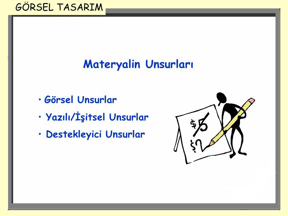 Materyalin Unsurları Görsel Unsurlar Yazılı/İşitsel Unsurlar Destekleyici Unsurlar GÖRSEL TASARIM