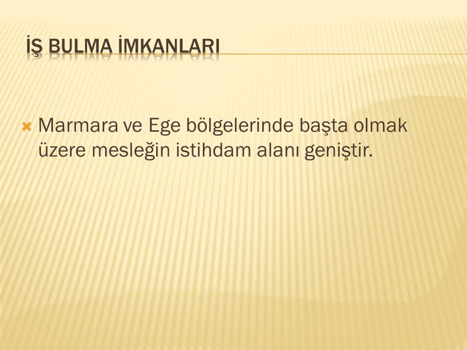  Marmara ve Ege bölgelerinde başta olmak üzere mesleğin istihdam alanı geniştir.