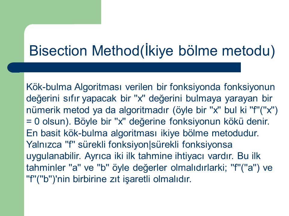 Kök-bulma Algoritması verilen bir fonksiyonda fonksiyonun değerini sıfır yapacak bir ''x'' değerini bulmaya yarayan bir nümerik metod ya da algoritmad
