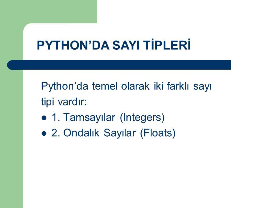 Python'da temel olarak iki farklı sayı tipi vardır: 1. Tamsayılar (Integers) 2. Ondalık Sayılar (Floats) PYTHON'DA SAYI TİPLERİ