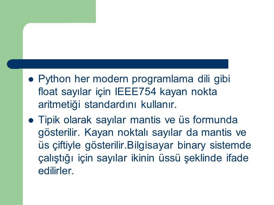 Python her modern programlama dili gibi float sayılar için IEEE754 kayan nokta aritmetiği standardını kullanır. Tipik olarak sayılar mantis ve üs form