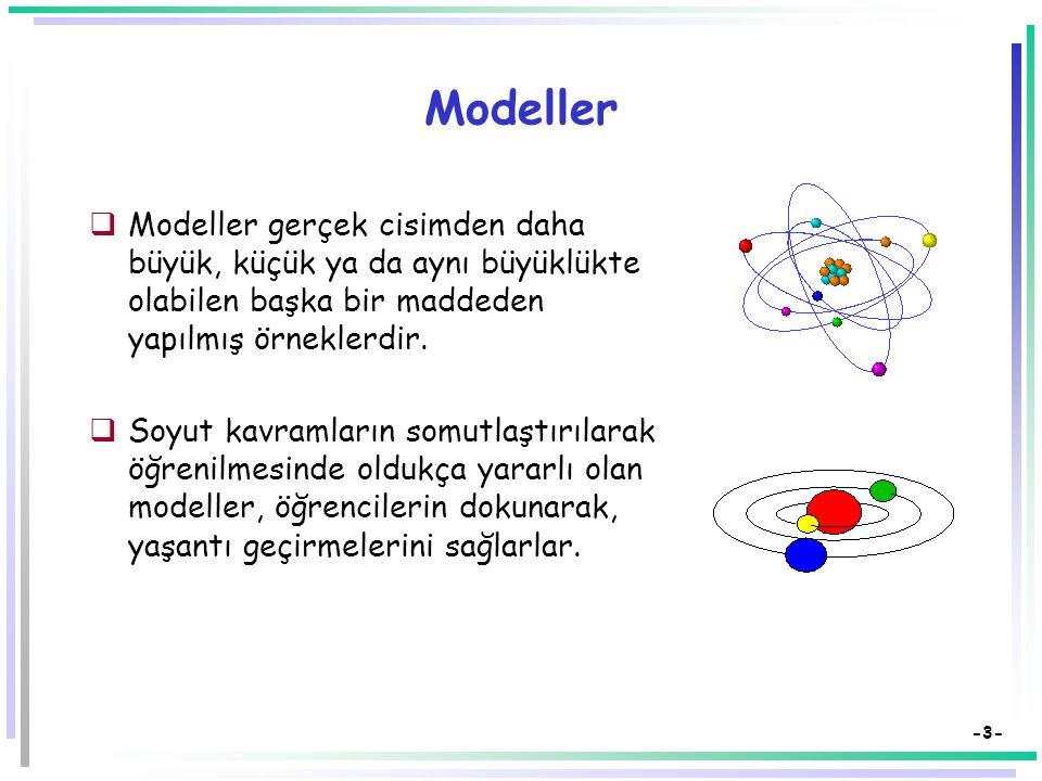 -3- Modeller  Modeller gerçek cisimden daha büyük, küçük ya da aynı büyüklükte olabilen başka bir maddeden yapılmış örneklerdir.