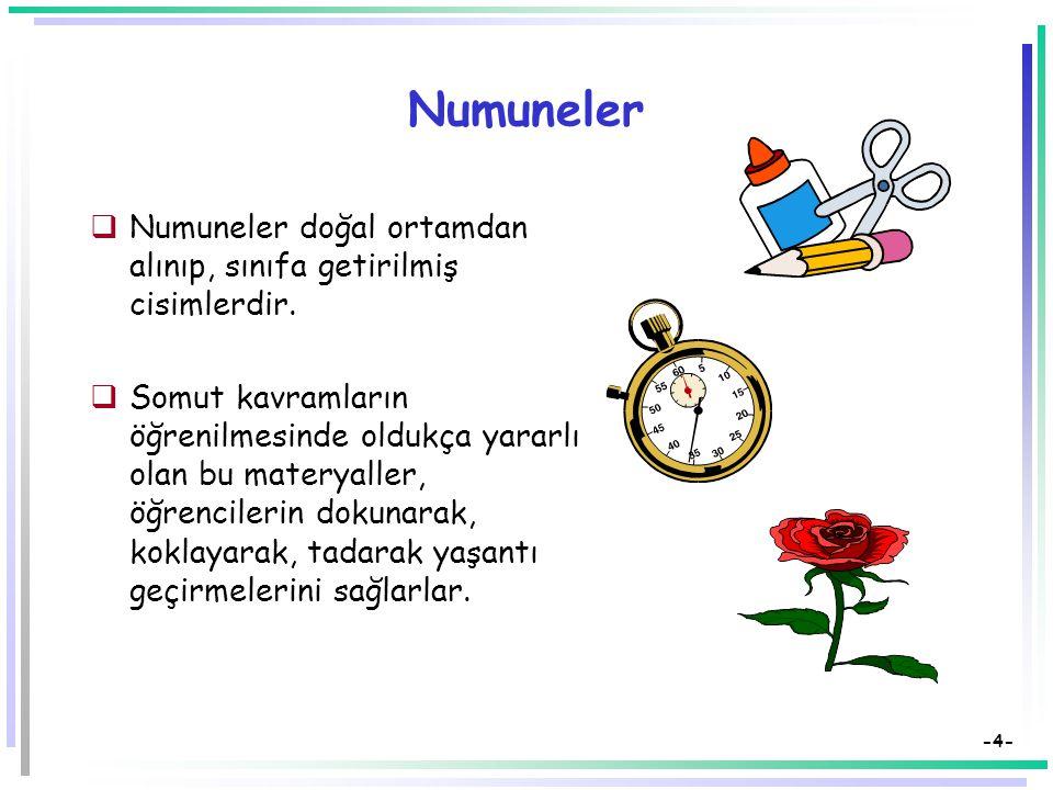 -4- Numuneler  Numuneler doğal ortamdan alınıp, sınıfa getirilmiş cisimlerdir.