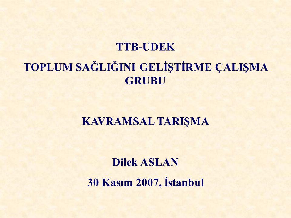 TTB-UDEK TOPLUM SAĞLIĞINI GELİŞTİRME ÇALIŞMA GRUBU KAVRAMSAL TARIŞMA Dilek ASLAN 30 Kasım 2007, İstanbul