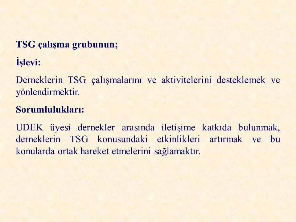 TSG çalışma grubunun; İşlevi: Derneklerin TSG çalışmalarını ve aktivitelerini desteklemek ve yönlendirmektir. Sorumlulukları: UDEK üyesi dernekler ara