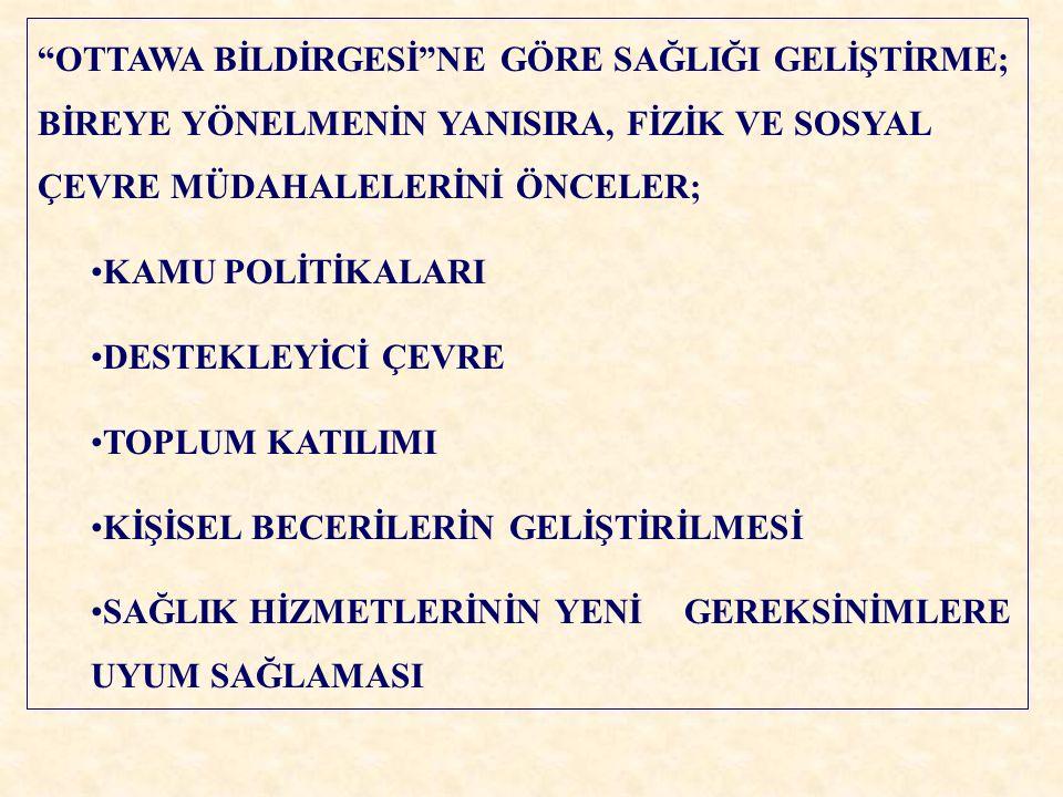 """""""OTTAWA BİLDİRGESİ""""NE GÖRE SAĞLIĞI GELİŞTİRME; BİREYE YÖNELMENİN YANISIRA, FİZİK VE SOSYAL ÇEVRE MÜDAHALELERİNİ ÖNCELER; KAMU POLİTİKALARI DESTEKLEYİC"""