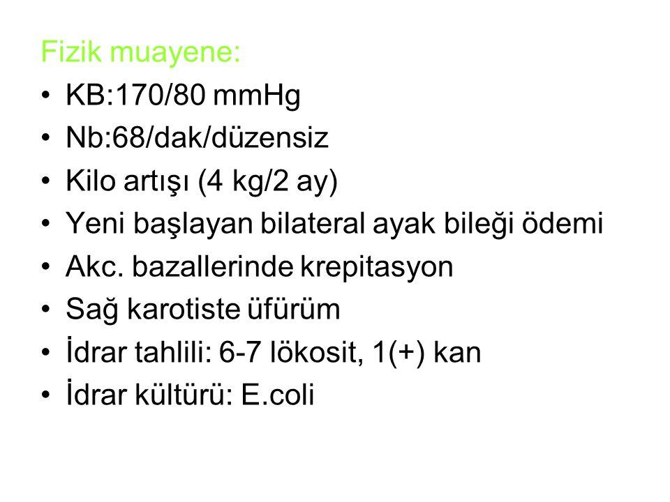 Fizik muayene: KB:170/80 mmHg Nb:68/dak/düzensiz Kilo artışı (4 kg/2 ay) Yeni başlayan bilateral ayak bileği ödemi Akc. bazallerinde krepitasyon Sağ k