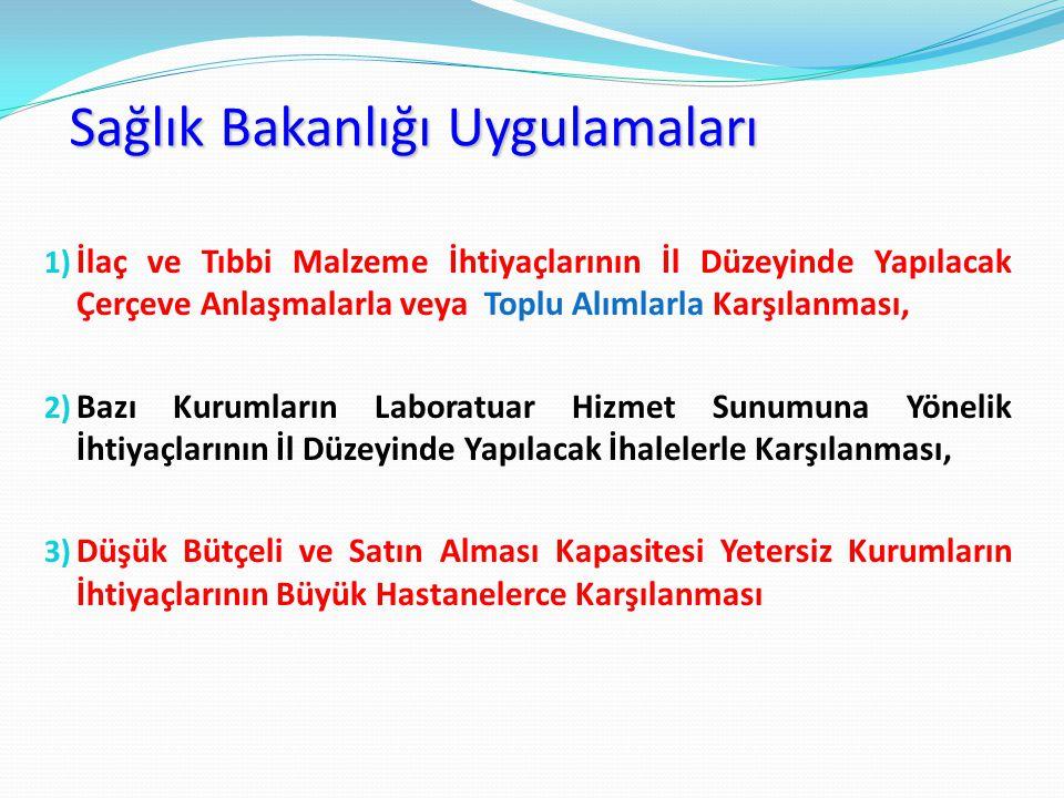 Sağlık Bakanlığı Uygulamaları 1) İlaç ve Tıbbi Malzeme İhtiyaçlarının İl Düzeyinde Yapılacak Çerçeve Anlaşmalarla veya Toplu Alımlarla Karşılanması, 2