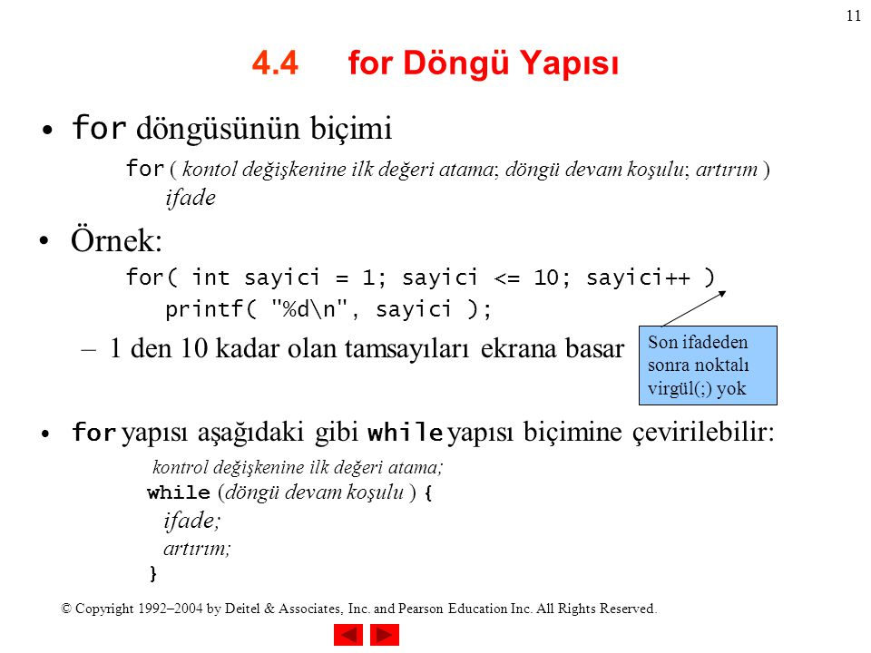 © Copyright 1992–2004 by Deitel & Associates, Inc. and Pearson Education Inc. All Rights Reserved. 11 4.4 for Döngü Yapısı for döngüsünün biçimi for (