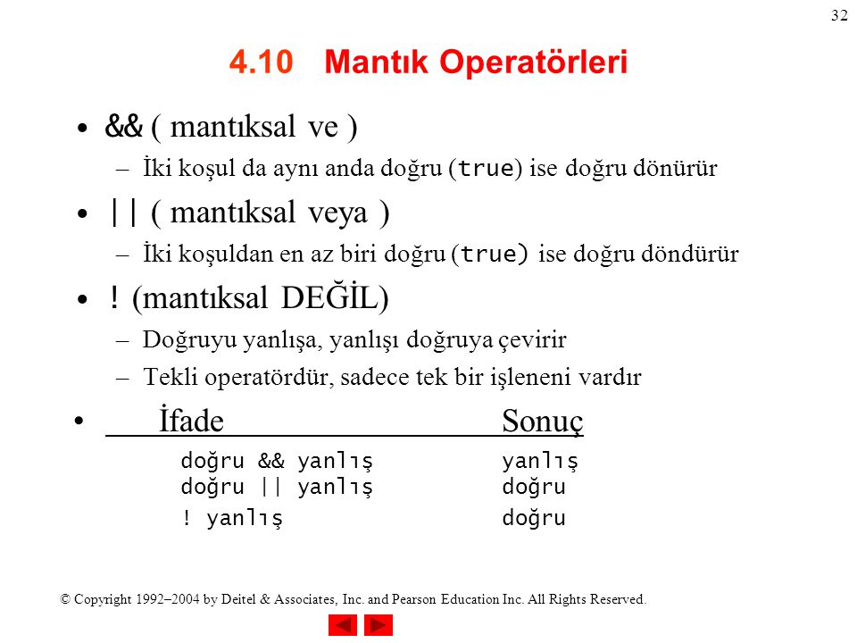 © Copyright 1992–2004 by Deitel & Associates, Inc. and Pearson Education Inc. All Rights Reserved. 32 4.10 Mantık Operatörleri && ( mantıksal ve ) –İk