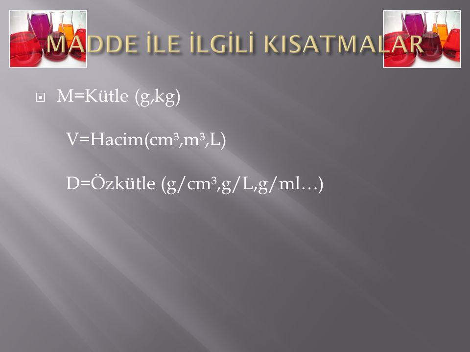  M=Kütle (g,kg) V=Hacim(cm³,m³,L) D=Özkütle (g/cm³,g/L,g/ml…)