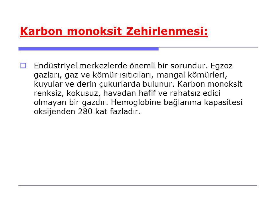 Karbon monoksit Zehirlenmesi:  Endüstriyel merkezlerde önemli bir sorundur.