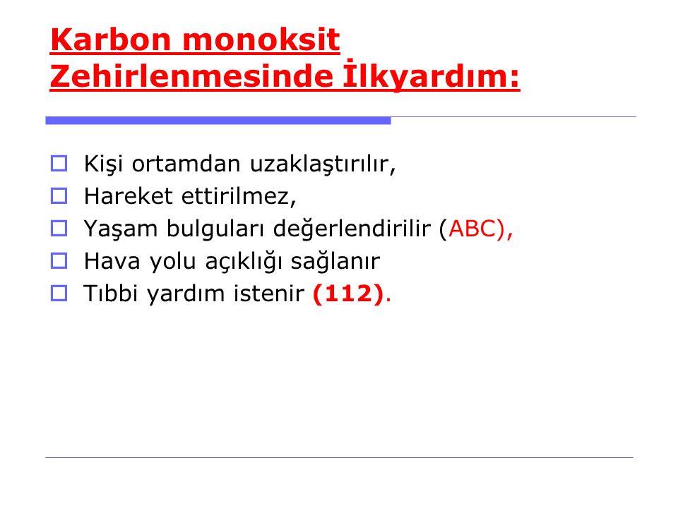 Karbon monoksit Zehirlenmesinde İlkyardım:  Kişi ortamdan uzaklaştırılır,  Hareket ettirilmez,  Yaşam bulguları değerlendirilir (ABC),  Hava yolu açıklığı sağlanır  Tıbbi yardım istenir (112).
