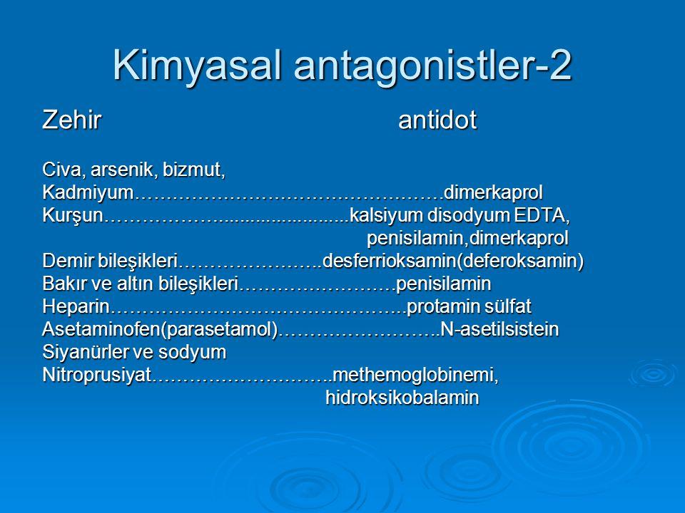 Kimyasal antagonistler-2 Zehir antidot Civa, arsenik, bizmut, Kadmiyum………………………………………….dimerkaprol Kurşun……………….........................kalsiyum disod