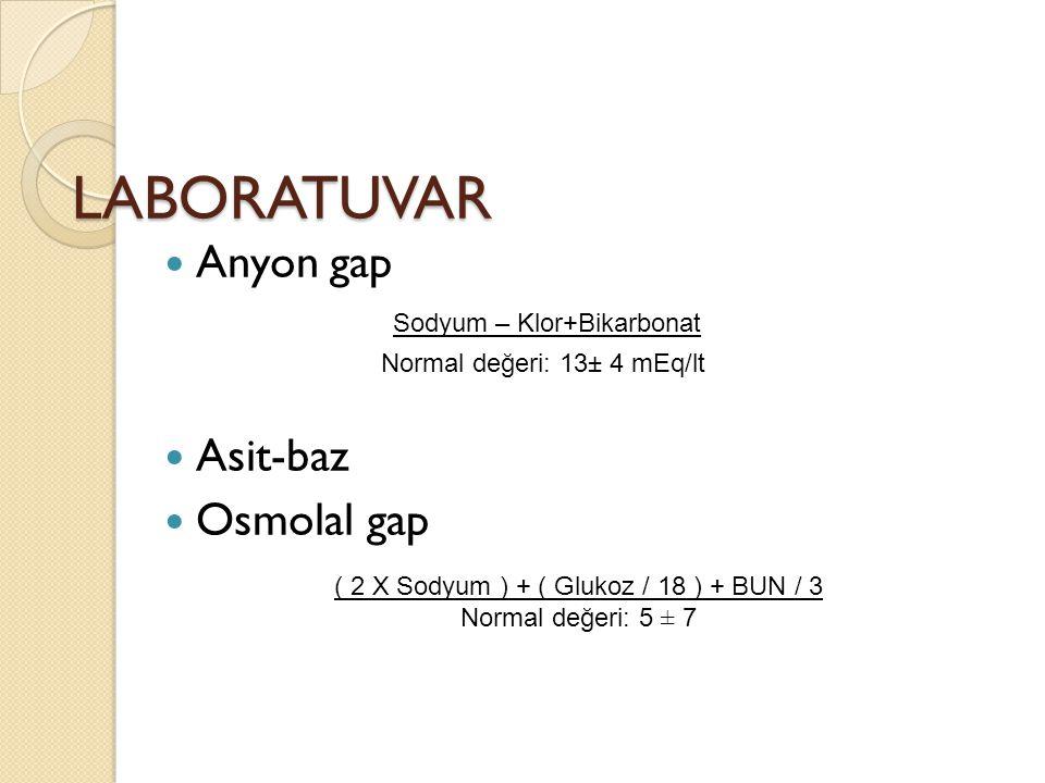 LABORATUVAR Anyon gap Asit-baz Osmolal gap Sodyum – Klor+Bikarbonat Normal değeri: 13± 4 mEq/lt ( 2 X Sodyum ) + ( Glukoz / 18 ) + BUN / 3 Normal değeri: 5 ± 7