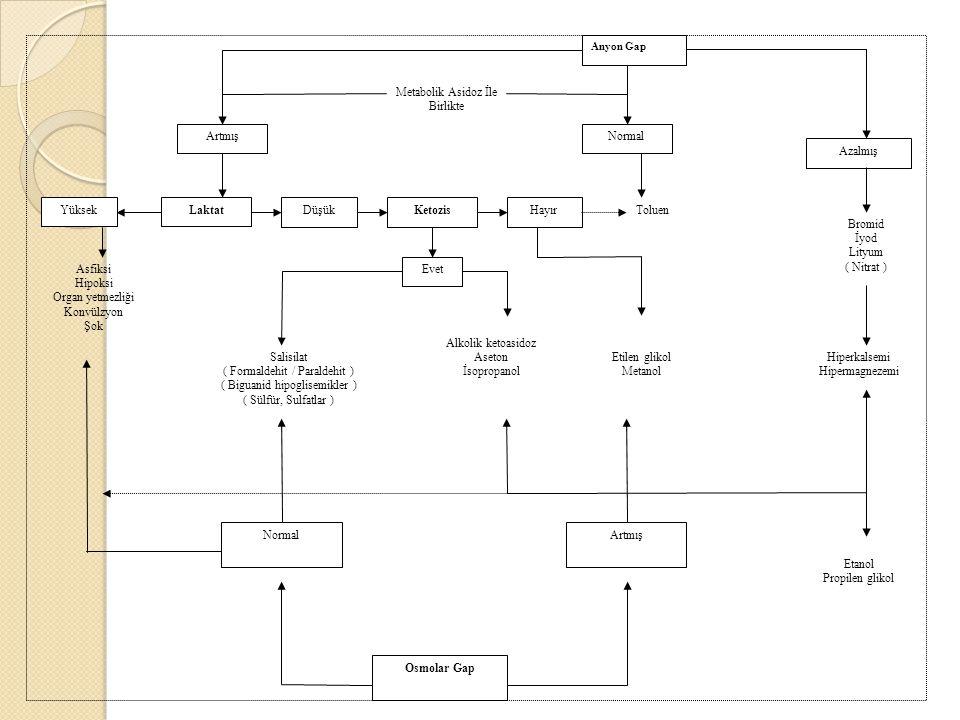 Anyon Gap Azalmış NormalArtmış Laktat Yüksek DüşükKetozisHayır Evet ArtmışNormal Osmolar Gap Metabolik Asidoz İle Birlikte Toluen Asfiksi Hipoksi Organ yetmezliği Konvülzyon Şok Salisilat ( Formaldehit / Paraldehit ) ( Biguanid hipoglisemikler ) ( Sülfür, Sulfatlar ) Alkolik ketoasidoz Aseton İsopropanol Etilen glikol Metanol Bromid İyod Lityum ( Nitrat ) Hiperkalsemi Hipermagnezemi Etanol Propilen glikol
