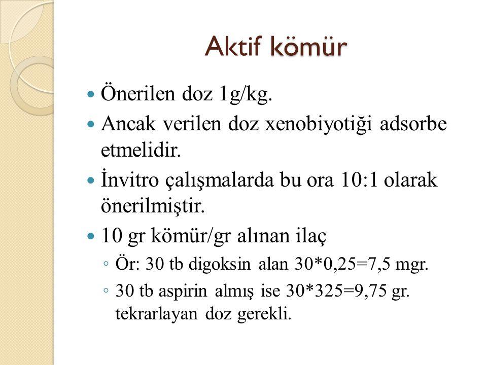 kömür Aktif kömür Önerilen doz 1g/kg.Ancak verilen doz xenobiyotiği adsorbe etmelidir.