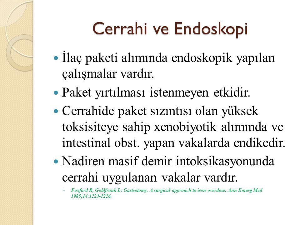 Cerrahi ve Endoskopi İlaç paketi alımında endoskopik yapılan çalışmalar vardır.