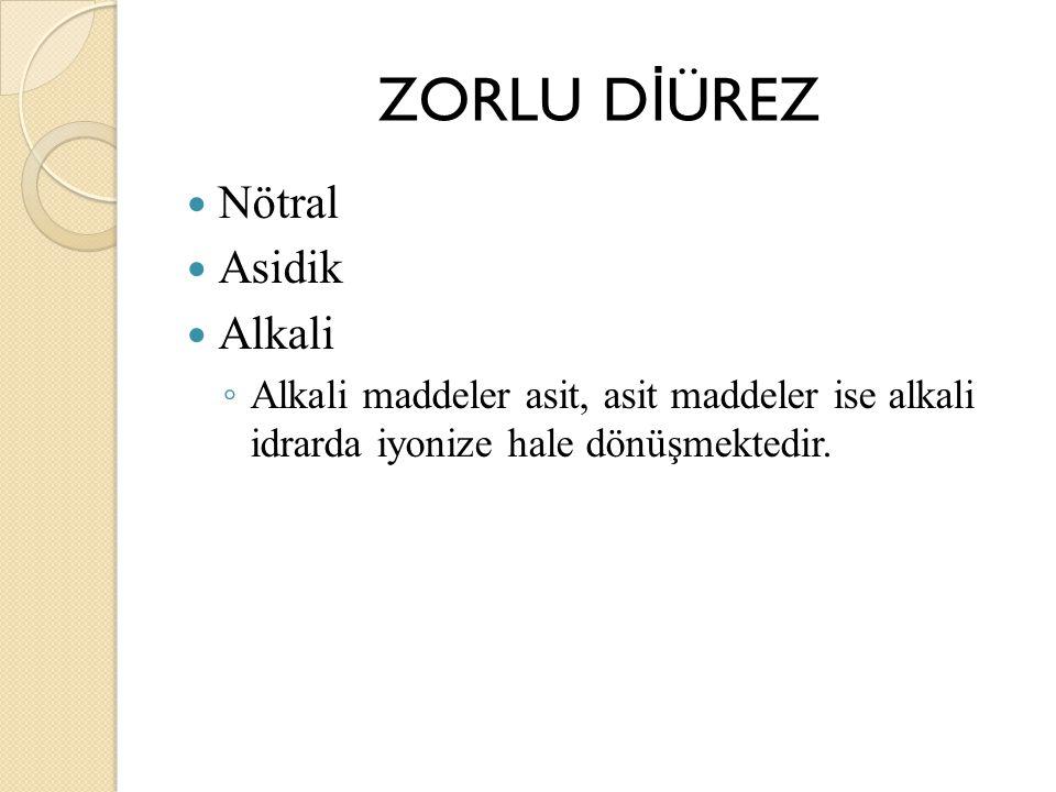 ZORLU D İ ÜREZ Nötral Asidik Alkali ◦ Alkali maddeler asit, asit maddeler ise alkali idrarda iyonize hale dönüşmektedir.