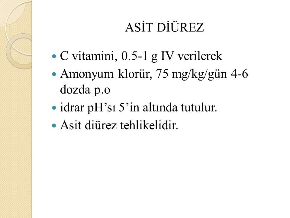 ASİT DİÜREZ C vitamini, 0.5-1 g IV verilerek Amonyum klorür, 75 mg/kg/gün 4-6 dozda p.o idrar pH'sı 5'in altında tutulur.