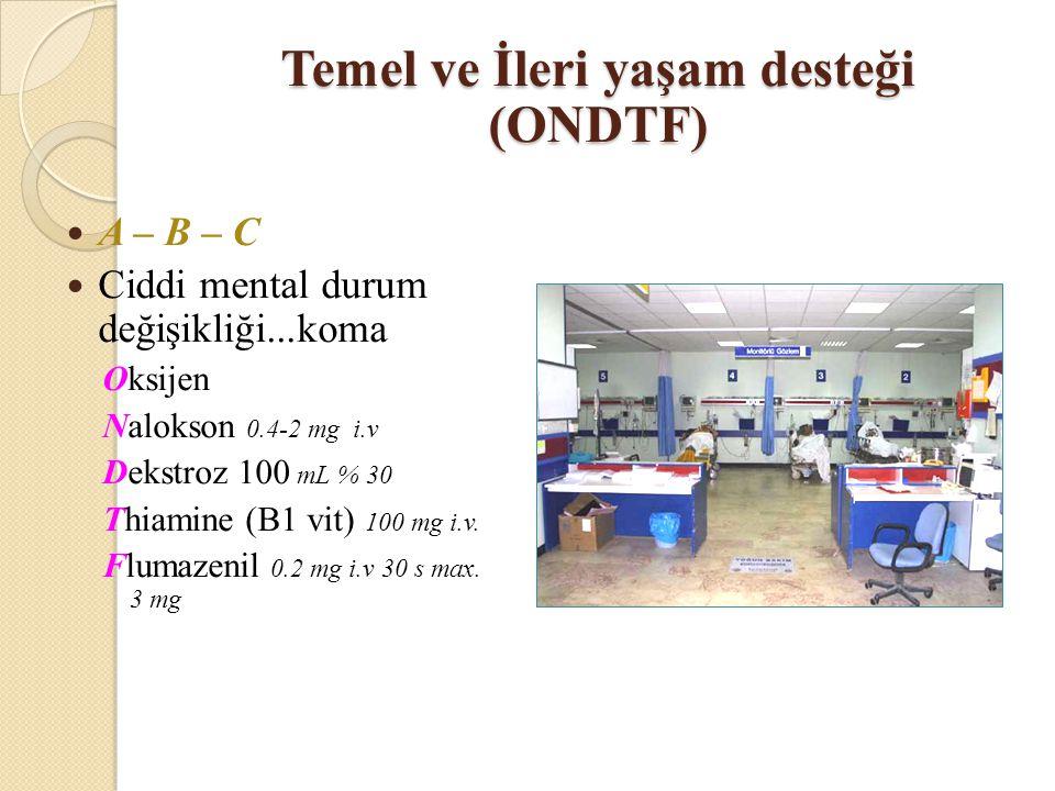 A – B – C Ciddi mental durum değişikliği...koma Oksijen Nalokson 0.4-2 mg i.v Dekstroz 100 mL % 30 Thiamine (B1 vit) 100 mg i.v.