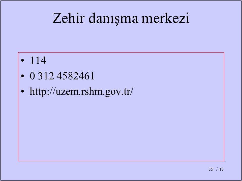 / 4835 Zehir danışma merkezi 114 0 312 4582461 http://uzem.rshm.gov.tr/
