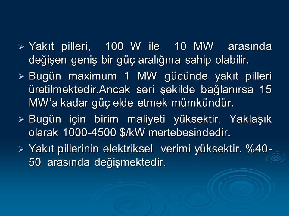  Yakıt pilleri, 100 W ile 10 MW arasında değişen geniş bir güç aralığına sahip olabilir.  Bugün maximum 1 MW gücünde yakıt pilleri üretilmektedir.An