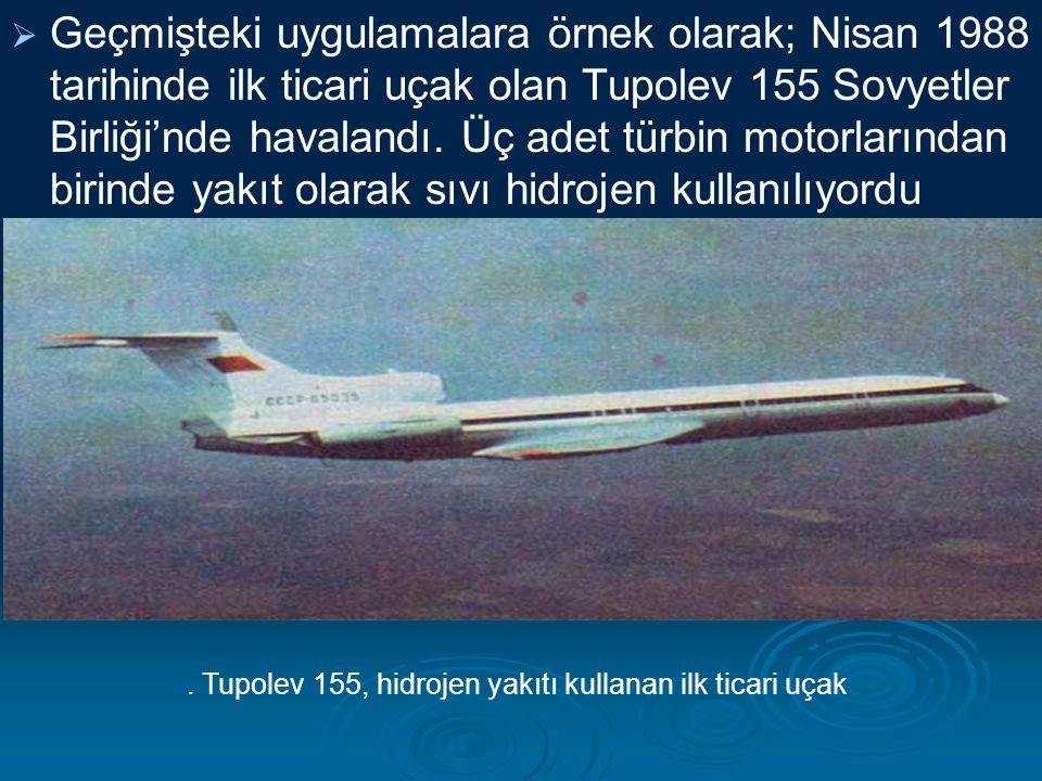  Geçmişteki uygulamalara örnek olarak; Nisan 1988 tarihinde ilk ticari uçak olan Tupolev 155 Sovyetler Birliği'nde havalandı. Üç adet türbin motorlar