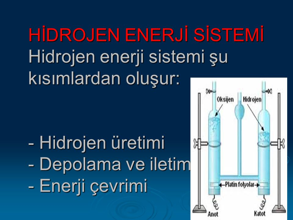HİDROJEN ENERJİ SİSTEMİ Hidrojen enerji sistemi şu kısımlardan oluşur: - Hidrojen üretimi - Depolama ve iletim - Enerji çevrimi