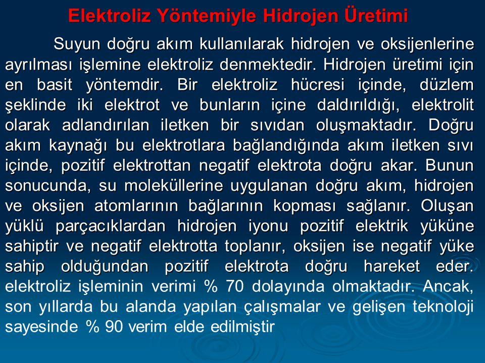 Elektroliz Yöntemiyle Hidrojen Üretimi Elektroliz Yöntemiyle Hidrojen Üretimi Suyun doğru akım kullanılarak hidrojen ve oksijenlerine ayrılması işlemi