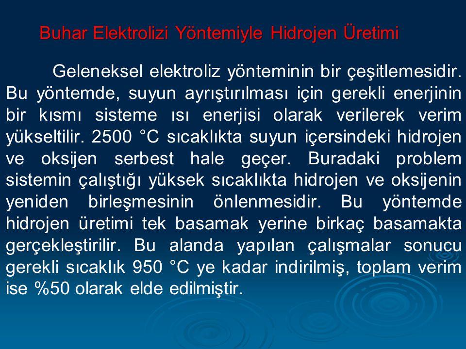 Buhar Elektrolizi Yöntemiyle Hidrojen Üretimi Geleneksel elektroliz yönteminin bir çeşitlemesidir. Bu yöntemde, suyun ayrıştırılması için gerekli ener