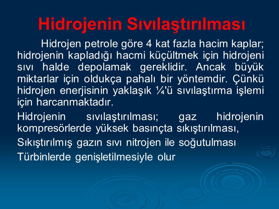 Hidrojenin Sıvılaştırılması Hidrojen petrole göre 4 kat fazla hacim kaplar; hidrojenin kapladığı hacmi küçültmek için hidrojeni sıvı halde depolamak g