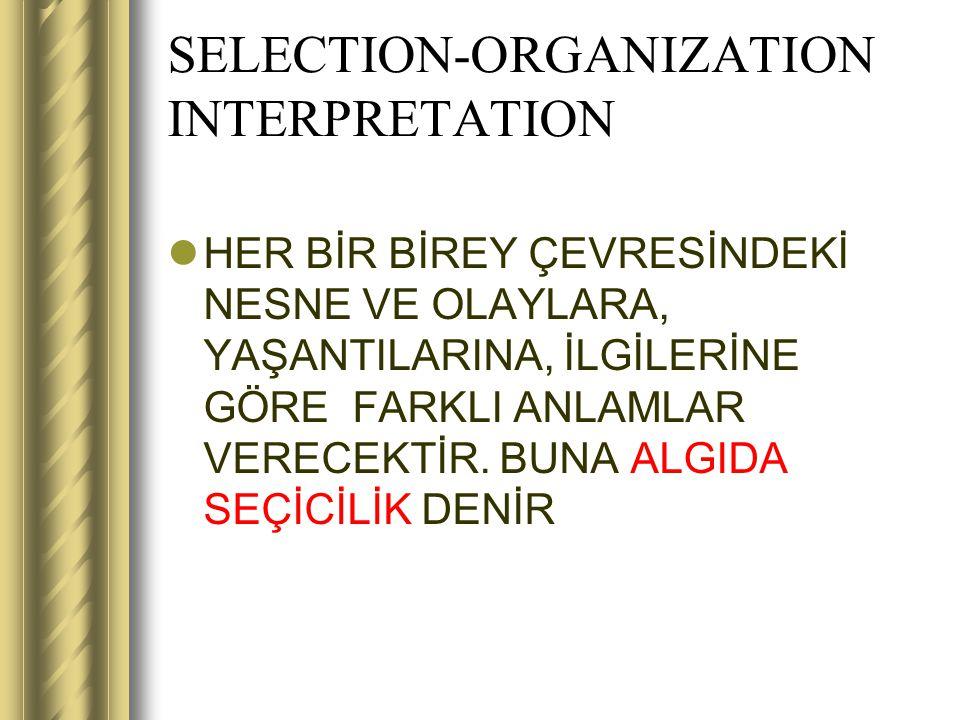 SELECTION-ORGANIZATION INTERPRETATION HER BİR BİREY ÇEVRESİNDEKİ NESNE VE OLAYLARA, YAŞANTILARINA, İLGİLERİNE GÖRE FARKLI ANLAMLAR VERECEKTİR. BUNA AL