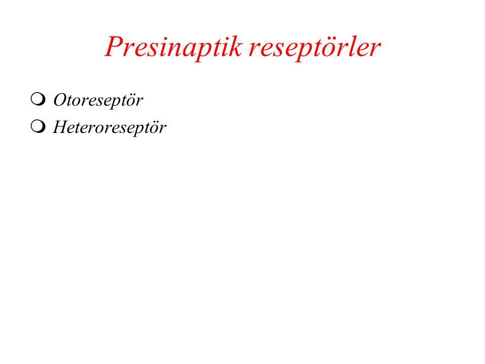 Presinaptik reseptörler  Otoreseptör  Heteroreseptör
