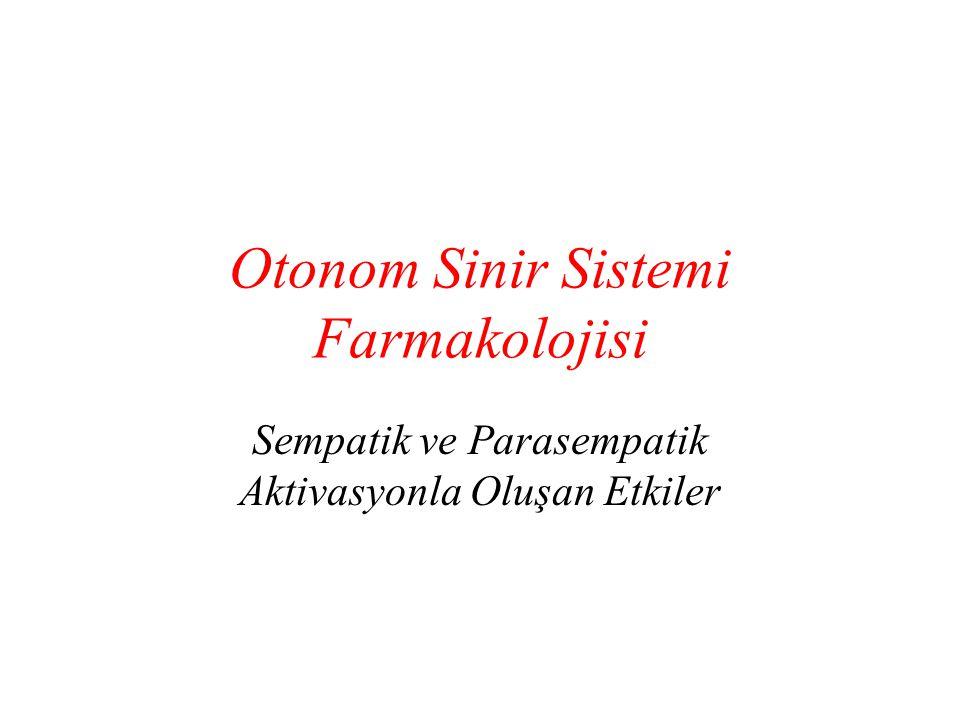 Otonom Sinir Sistemi Farmakolojisi Sempatik ve Parasempatik Aktivasyonla Oluşan Etkiler