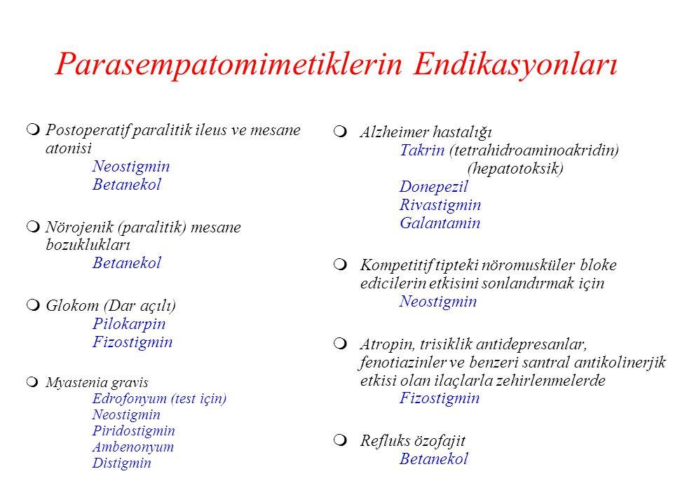Parasempatomimetiklerin Endikasyonları  Postoperatif paralitik ileus ve mesane atonisi Neostigmin Betanekol  Nörojenik (paralitik) mesane bozuklukla