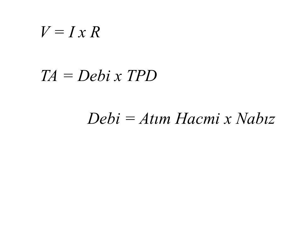 V = I x R TA = Debi x TPD Debi = Atım Hacmi x Nabız