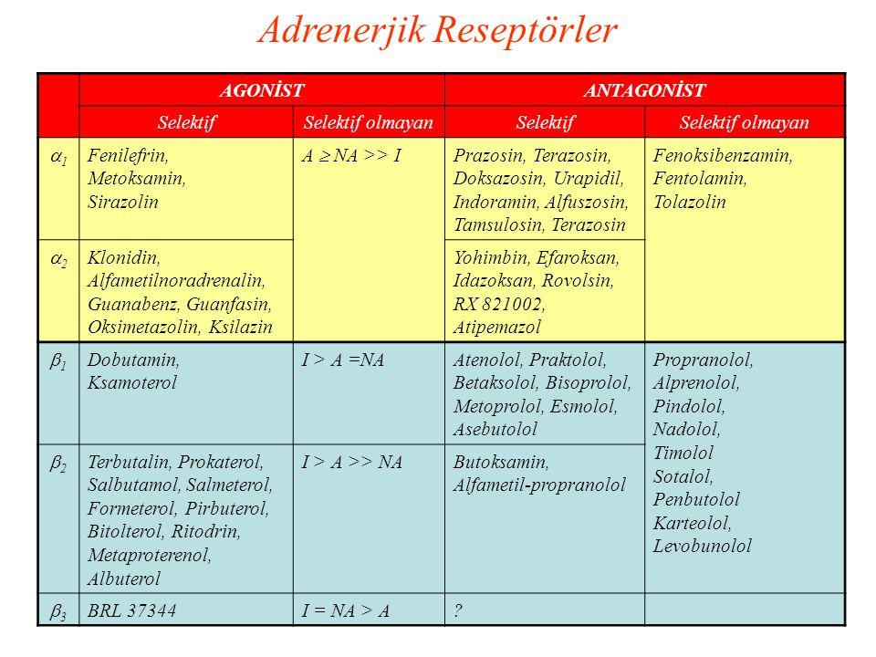 AGONİSTANTAGONİST SelektifSelektif olmayanSelektifSelektif olmayan 11 Fenilefrin, Metoksamin, Sirazolin A  NA >> I Prazosin, Terazosin, Doksazosin,