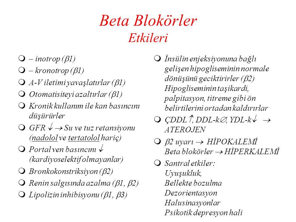 Beta Blokörler Etkileri  – inotrop (  1)  – kronotrop (  1)  A-V iletimi yavaşlatırlar (  1)  Otomatisiteyi azaltırlar (  1)  Kronik kullanım