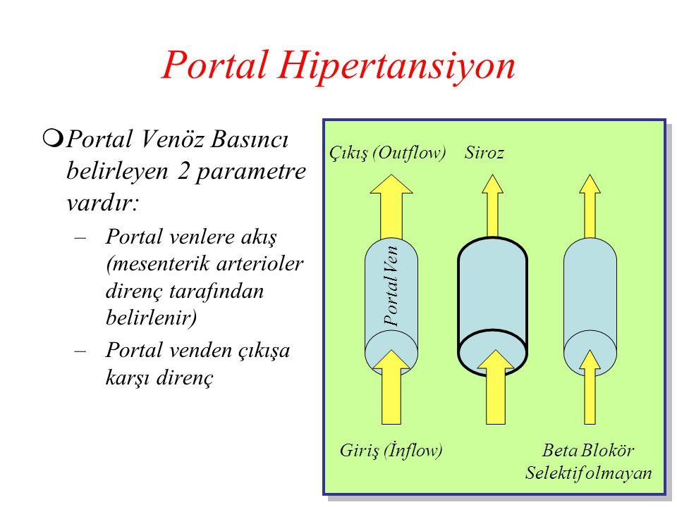 Portal Hipertansiyon  Portal Venöz Basıncı belirleyen 2 parametre vardır: –Portal venlere akış (mesenterik arterioler direnç tarafından belirlenir) –
